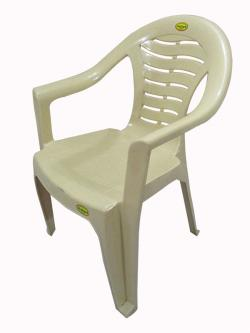 Comfortable Cream Color Plastic Chair - Large - (UT-009)