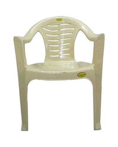 Comfortable Cream Color Plastic Chair - Large - (UT-009)