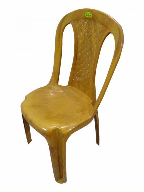 Armless Wooden Yellow Plastic Chair - (UT-015)