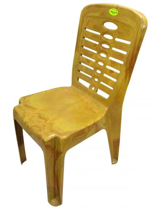 Super Armless Wooden Yellow Plastic Chair - (UT-017)
