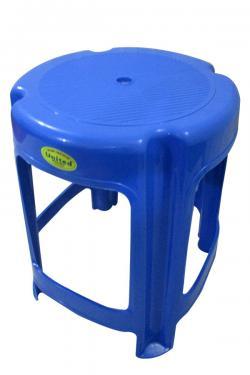 Blue Plastic Household Round Stool - (UT-037)