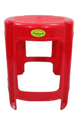 Red Plastic Household Round Stool - (UT-038)