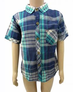 Blue Check Shirt For Kids - (CN-059)