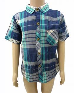 Blue Check Shirt For Kids - (CN-059)