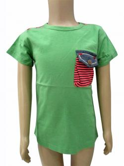 Green Cotton T-Shirt With Pocket - (CN-063)