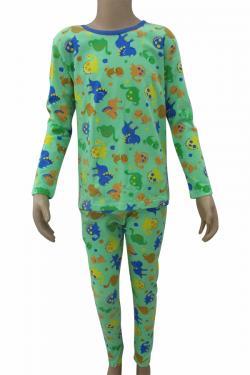Green Animal Printed Night Dress Set For Kids - (CN-66)