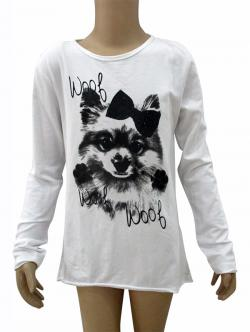 Woof Printed Full Sleeve T-Shirt For Kids - (CN-073)