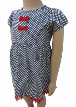 Black & White Dotted Frock For Kids - (CN-076)