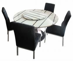 6 Seater Marble Oral Dinning Table Set - (FO-007)