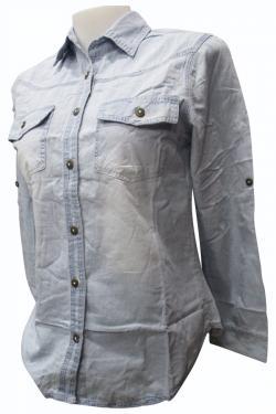 Light Blue Soft Jeans Shirt For Ladies - (EZ-077)