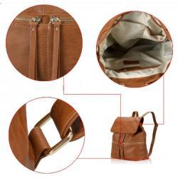 Brown Korean Leather Backpack - (WBG001)