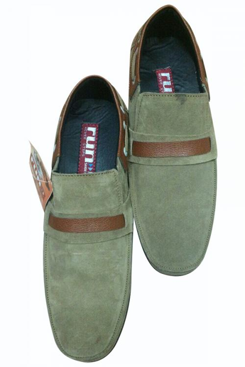 Green Loafer Shoes With Brown Strap - (SH-001)