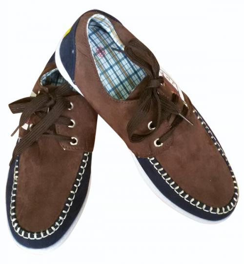 Brown Loafer Shoes With White Stitches - (SH-010)