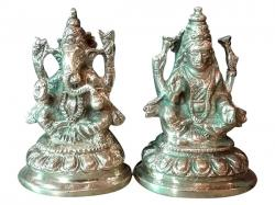 Statue Of Ganesh & Laxmi - Large - (NBN-033)