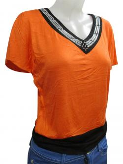 V Necked Cotton T-Shirt For Ladies - (WM-0045)
