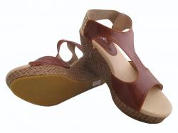 Brown Wedge Heel Sandals For Ladies - (WM-0054)