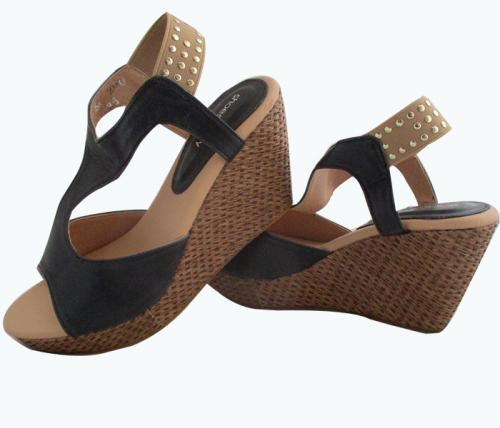Black Wedge Heel Sandals - (WM-0055)