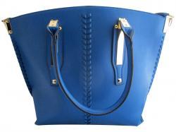 Blue Leather Handbag For Ladies - (WM-0078)
