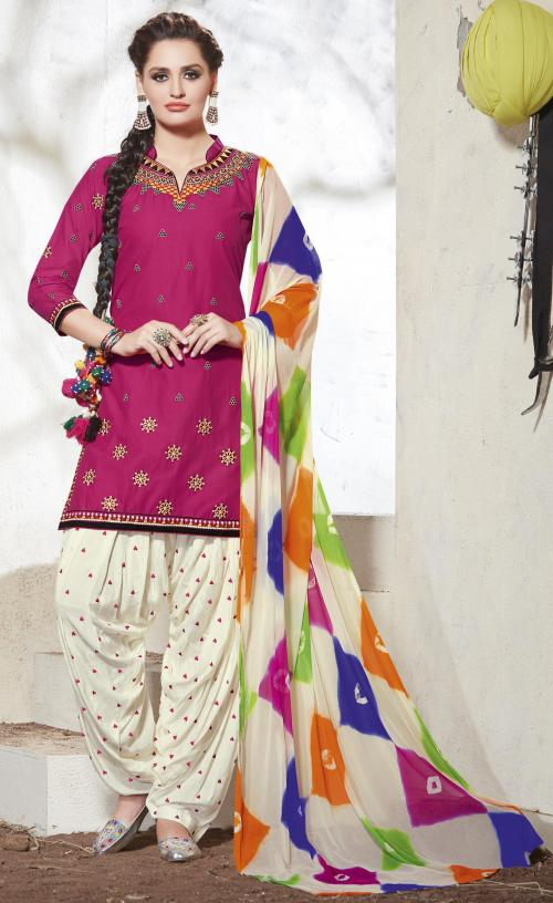 PURE COTTON EMBROIDERED PATIALA SUIT