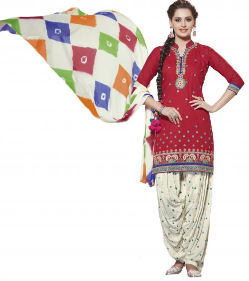 PURE COTTON EMBROIDERED FORMAL WEAR UNSTITCHED PATIALA SUIT