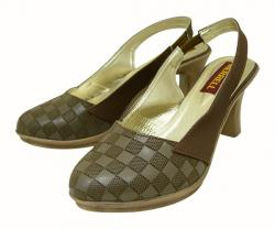 Brown Front Closed Ladies Shoes - (120B)