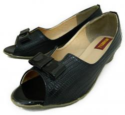 Black Fashionable Front Open Shoes For Ladies - (1814)