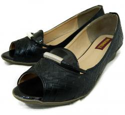 Black Front Open Shoes For Ladies - (1823)