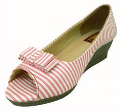 Pink-White Front Open Shoes For Ladies - (1810)