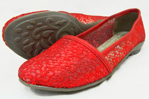Stylish Red Flat Close Shoes For Ladies - (1760)