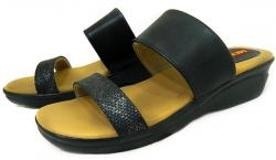 New Fashionable Black Ladies Flat Sandal - (1697)