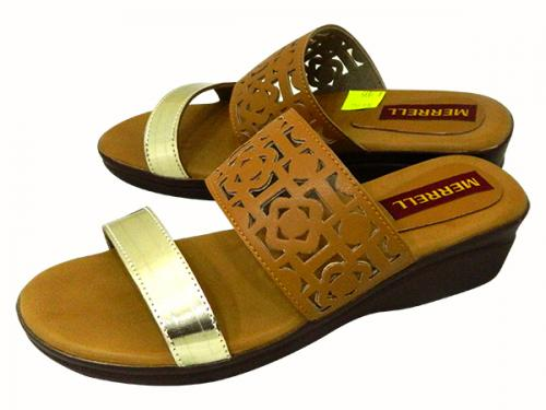 Tan Flat Sandals For Ladies - (1699)