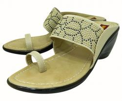 Stylish Cream Color Flat Sandal For Ladies - (1591)