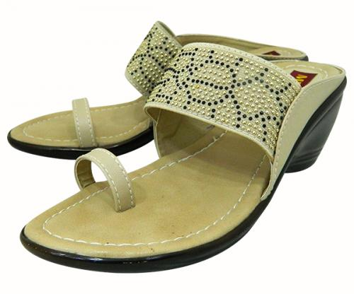 Stylish Cream Color Flat Sandal For Ladies - (1591)