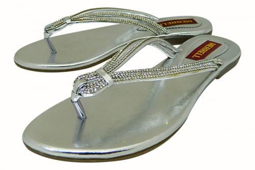 Silver Flat Party Sandal For Ladies - (1153)