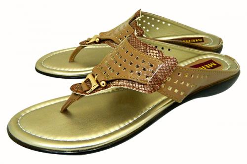 Golden Flat Party Sandal For Ladies - (1709)
