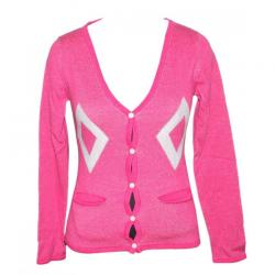 100% Cotton Ladies V-Neck Cardigan-Pink - (NEP-001)