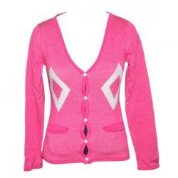 100% Cotton Ladies V-Neck Cardigan-Pink - (NEP-001)