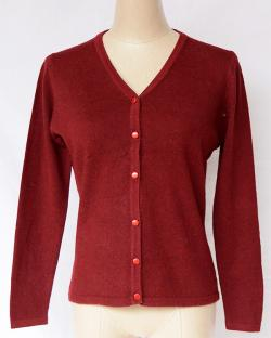 Maroon V Neck Sweater With Buttons - (TP-313)