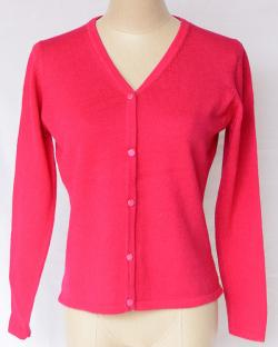 Pink V Neck Sweater With Buttons - (TP-314)