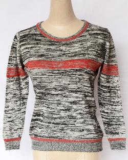 Black & Grey Round Neck Sweater With Stripes - (TP-317)