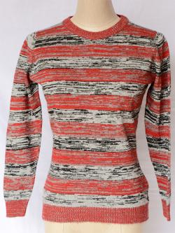 Black/Red Stripped Round Neck Sweater - (TP-318)