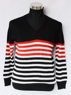 V Neck Sweater With Stripes - (TP-320)