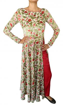 Long Floral Designer Kurti With Salwar - (CN-014)