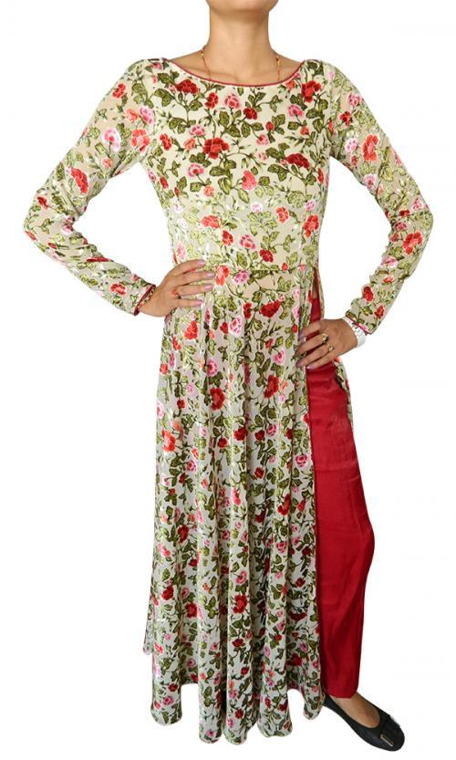 Long Floral Designer Kurti With Salwar - (CN-014)