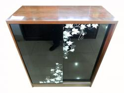 Wooden Shoe Rack With Glass - (FL634-15)