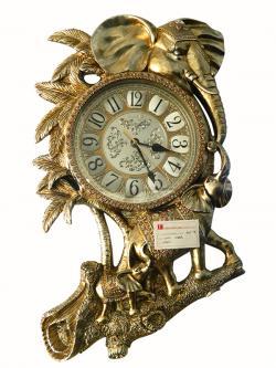 Golden Color Love Elephants Personalized Wall Clock - (FL905-59)