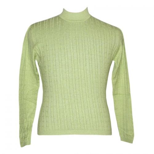 Ladies Ribbed Mock Neck All Over Cable Sweater - (NEP-009)
