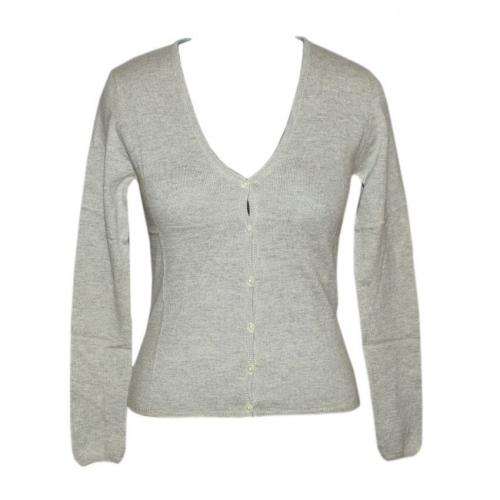 Ladies V-Neck Cardigan Twin Set with High Neck - (NEP-016)