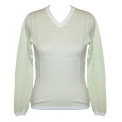 Ladies V-Neck FS All Over Jacquard Sweater - (NEP-017)