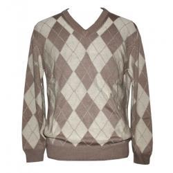 Men's Intertsia V-Neck Pullover Sweater - (NEP-022)